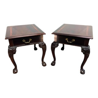 Thomasville Mahogany Collection Chippendale End Side Tables Ball in Claw Feet - Pair