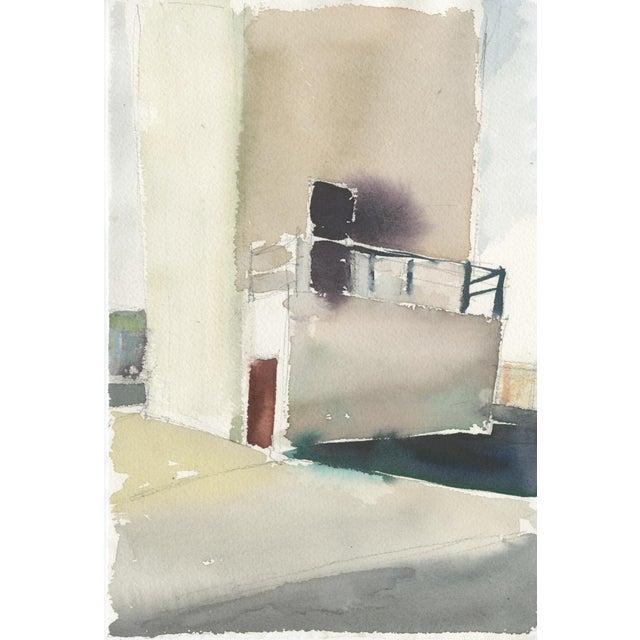 "Ferdinanda Florence Ferdinanda Florence ""Vfd 5"" Industrial Building Landscape Watercolor Painting For Sale - Image 4 of 4"