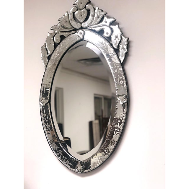 Vintage Venetian Scrolling Heart Oval Wall Mounted Mirror For Sale - Image 11 of 11