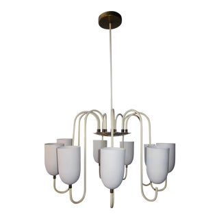 1950s Mid-Century Modern Matte White 9-Arm Curvilinear Chandelier For Sale