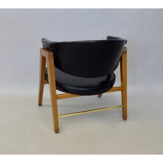 Americana Edward Wormley for Dunbar Lounge Chair With Black Leather For Sale - Image 3 of 6