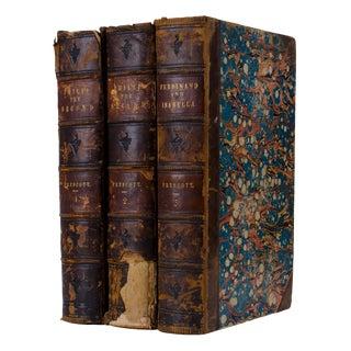 Antique Leather Bound Prescott's Works - Set of 3 For Sale