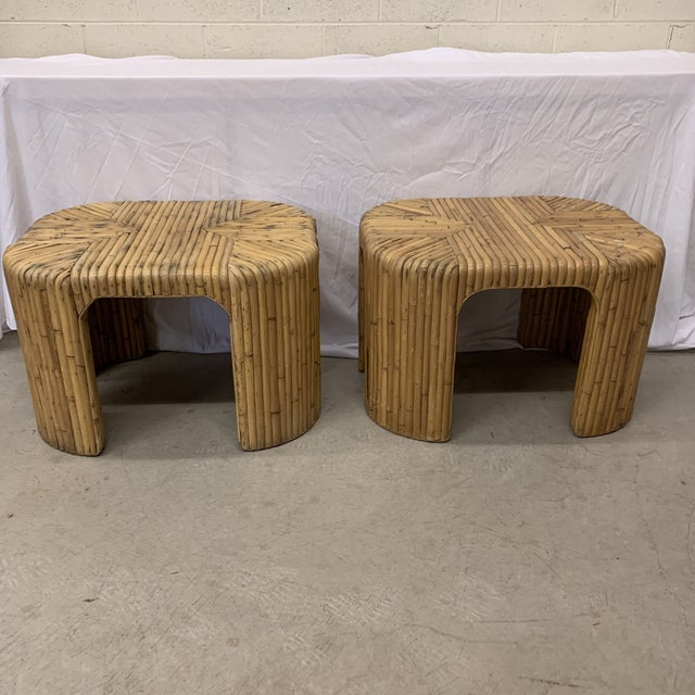 Vintage Split Reed Waterfall End Tables - Pair For Sale - Image 13 of 13