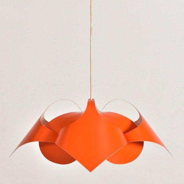 Verner Panton Orange Lamp For Sale In Los Angeles - Image 6 of 7