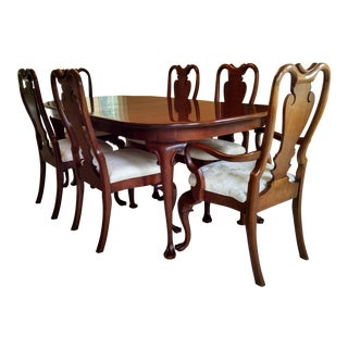 Solid Cherry Dining Room Table With Queen Anne Chairs