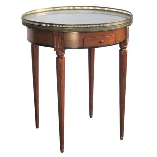 French Louis XVI Fruitwood Circular Side/Bouillotte Table With Carrara Marble Top For Sale