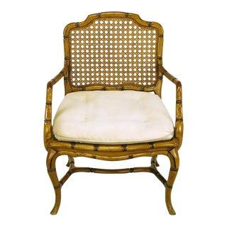 Bamboo-Form Cabriole Leg Cane Back Armchair For Sale
