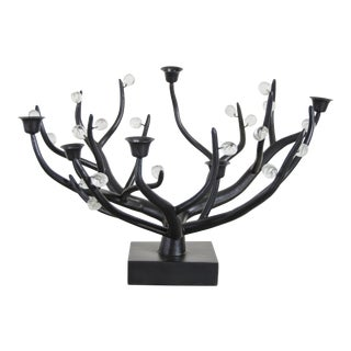 Hand Repousse Carved Black Copper and Crystal Candelabra by Robert Kuo, Limited Edition For Sale