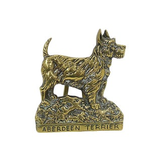 Antique Brass Aberdeen Terrier Door Knocker For Sale