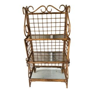 Vintage Rattan Bakery Rack or Shelf. For Sale