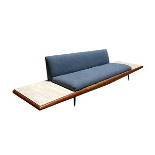 Mid Century Modern Adrian Pearsall Platform Sofa With Travertine End Tables by Craft Associates For Sale