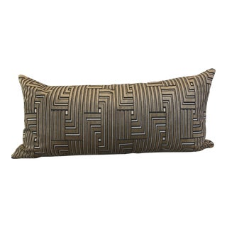"Groundwork's ""Louvered Maze"" in Linen 16""x32"" Pillow For Sale"
