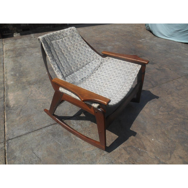 1960s Jerry Johnson Mid-Century Modern Walnut Sling Rocking Chair For Sale - Image 9 of 9