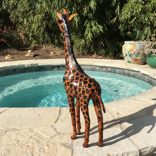 Vintage Bohemian Leather Giraffe - Image 7 of 8