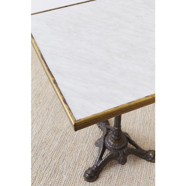 French Bronzed Iron and Faux Marble Bistro Table For Sale In San Francisco - Image 6 of 13