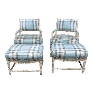 Vintage Mid Century Country French Style Armchairs and Ottomans- 4 Pieces For Sale