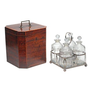 George III Mahogany Decanter Case complete with bottle carrier
