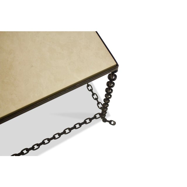 Mid 20th Century Mid-Century Modern Stone Topped Chain Link Side Table For Sale - Image 5 of 7