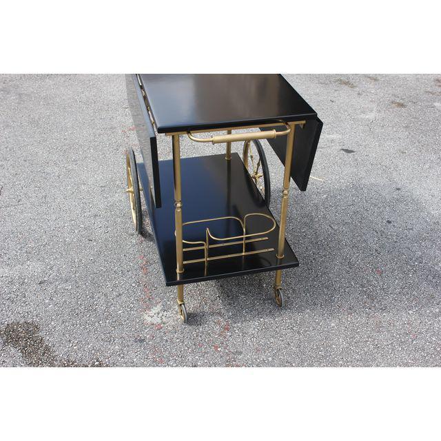 Gold Beautiful Maison Jansen Ebonized Drop-Leaf Bar Cart Circa 1940s For Sale - Image 8 of 13