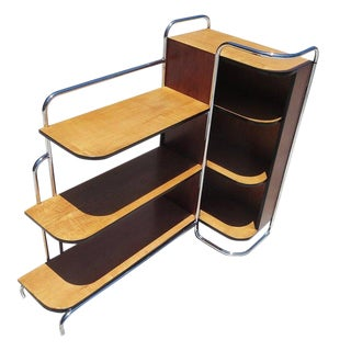Streamlined Art Deco Corner Cabinet Book Shelf in Chrome and Wood