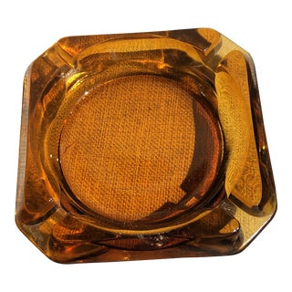 Square Amber Glass 1970's Ashtray For Sale