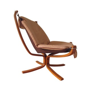 Sigurd Ressell Norwegian Mid-Century Leather Falcon Chair For Sale