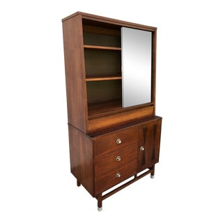 Distinctive Furniture by Stanley Bowtie Style Walnut Buffet & China Cabinet