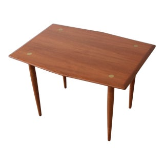 Swedish Modern Teak and Brass Side Table by Dux For Sale