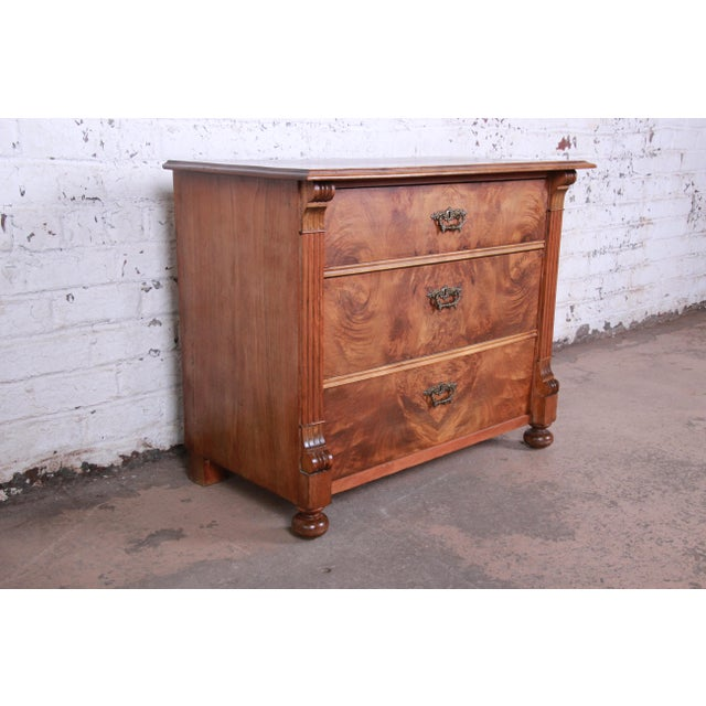 19th Century Continental Burled Walnut Three-Drawer Bachelor Chest For Sale - Image 4 of 13