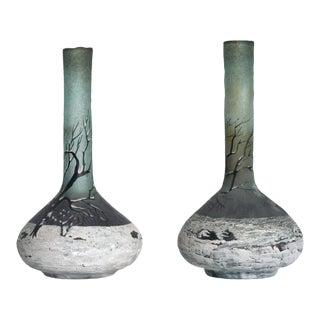 Art Nouveau Cameo Glass Nancy Vases by Andre Delatte Daum - a Pair For Sale