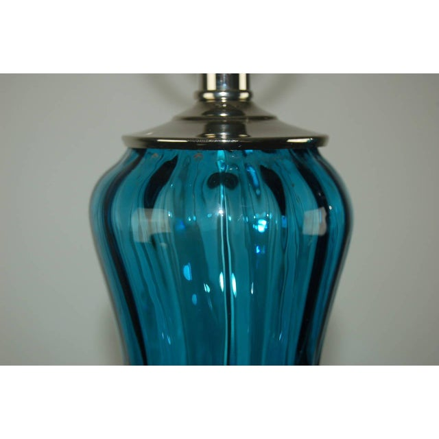 Vintage Italian Glass Petticoat Table Lamps Teal Blue For Sale - Image 4 of 10