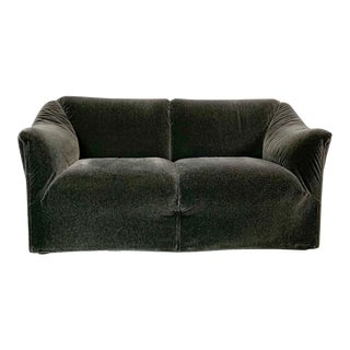1990s Vintage Mario Bellini in Charcoal Mohair Cassina Tentazione Loveseat For Sale