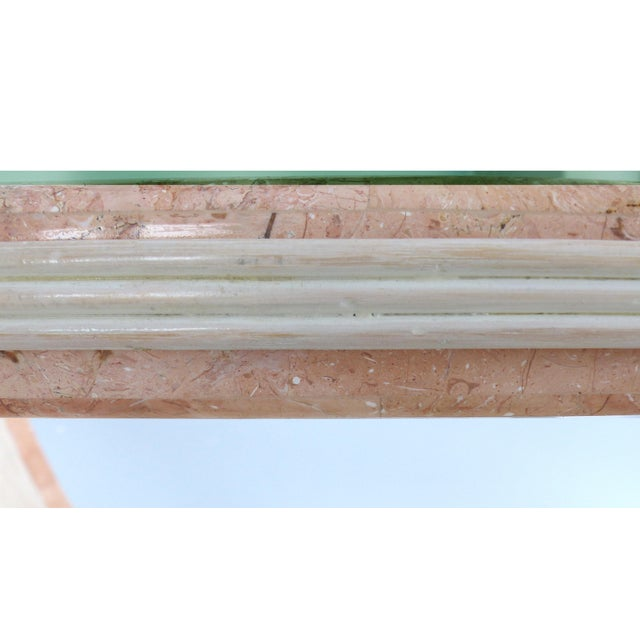 Glass Gabriella Crespi Style Reed and Faux Painted Marble Console Table or Dining Base For Sale - Image 7 of 13