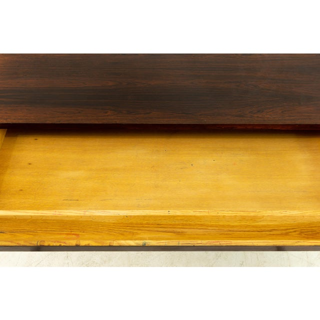 Metal Edward Wormley for Dunbar Mid Century Rosewood and Bronze Executive Desk For Sale - Image 7 of 10
