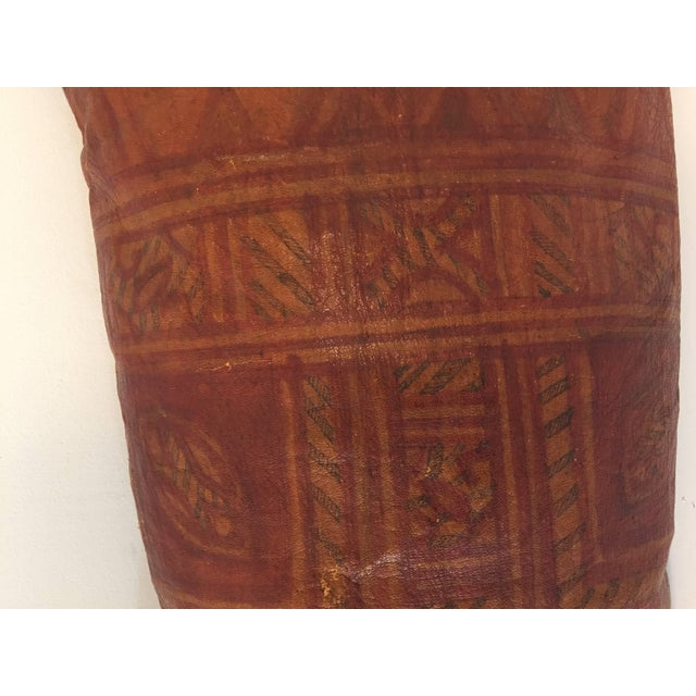 African Tuareg Leather Pillow With Fringes For Sale In Los Angeles - Image 6 of 10