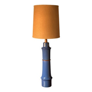 Mid Century Blue Stoneware Table Lamp With Shade by Martz For Sale