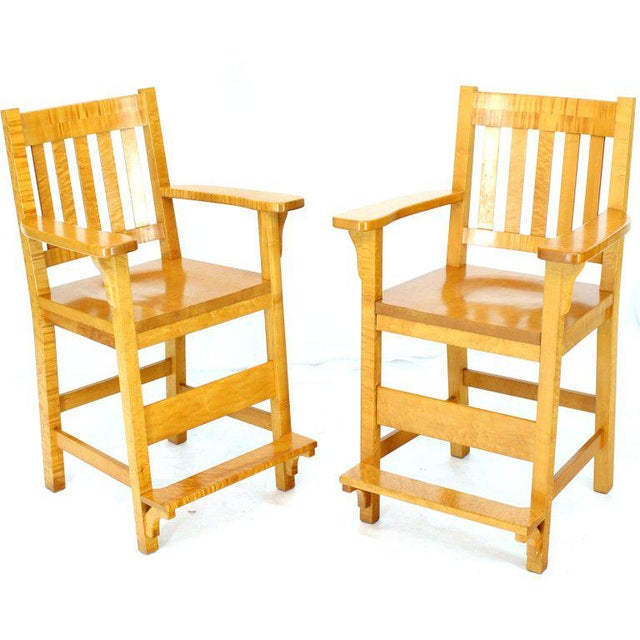 Solid Brid's-Eye Maple High Pool Chairs Bar Stools For Sale - Image 13 of 13