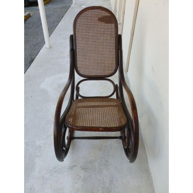 Modern Original Condition Signed Thonet Bentwood Rocker Circa 1896 For Sale - Image 3 of 11