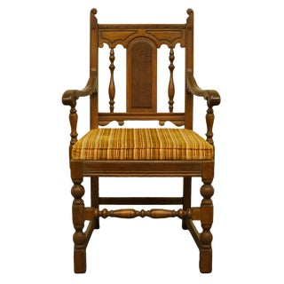 Late 20th Century Vintage Mount Airy English Revival Jacobean Style Walnut Dining Arm Chair For Sale