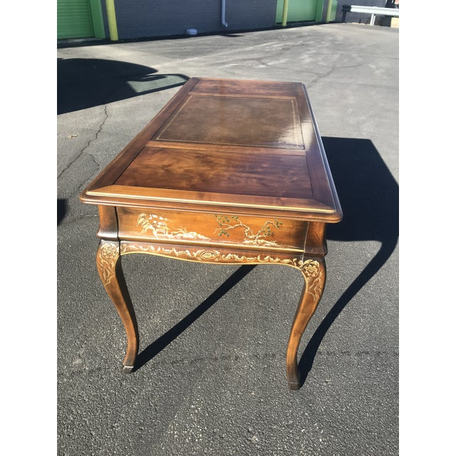 Drexel 1980s Chinoiserie Drexel Writing Desk With Matching Chair -2 Pieces For Sale - Image 4 of 12