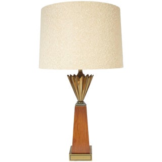 Stiffel Brass and Walnut Mid-Century Modern Obelisk Table Lamp with Brass Crown For Sale