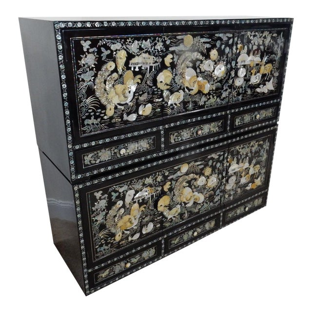 Chinese Mother of Pearl Inlaid Lacquered Cabinet For Sale