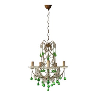 French Green Drops Macaroni Swags Chandelier For Sale