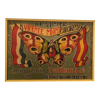 Original Matted 1920s Dutch Apple Label, Butterfly Art For Sale