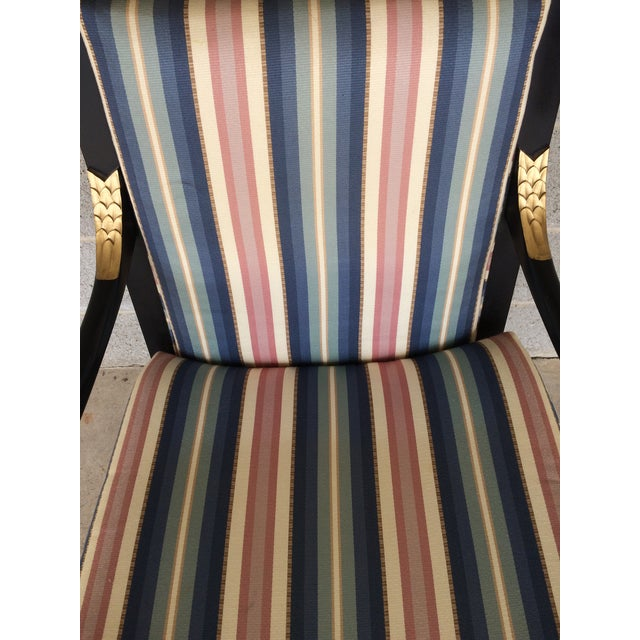 Blue Ethan Allen Dolphin Federal Black/Gold Trim Upholstered Arm Chair For Sale - Image 8 of 10