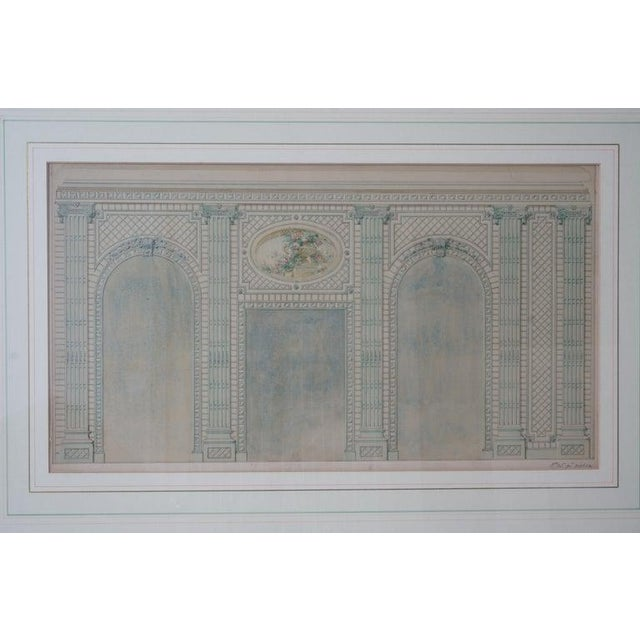 French Antique 1820's Hand-Colored Architectural Drawing of Flowering Trellis For Sale - Image 3 of 9