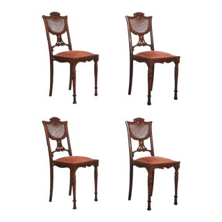 French Art Nouveau Walnut Chairs, 1900s - Set of 4 For Sale