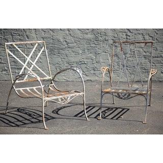 Salterini Vintage Art Nouveau Wrought Iron Pair Garden Patio Lounge Chairs Preview