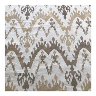 Metallic Gold Ikat Handprinted Linen- 1 3/4 Yards For Sale