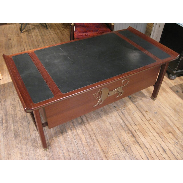 Executive Desk in Wenge & Brass by Kofod Larsen For Sale In New York - Image 6 of 12